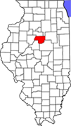 IL county map highlighting Woodford Co.